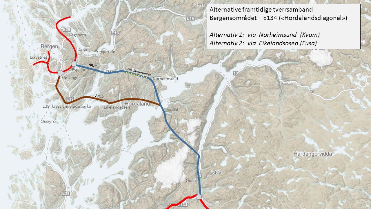 Jondal Eikelandsosen E39, kryss Endelausmarka Tysse Espeland Arna Trengereid Alt.