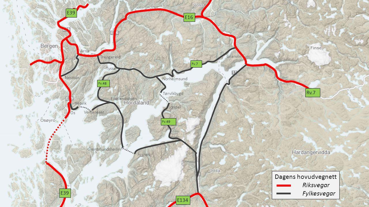 Sannsynleg framtidig hovudvegstruktur med ny E39, E16 og ringvegsystem i Bergen mm.
