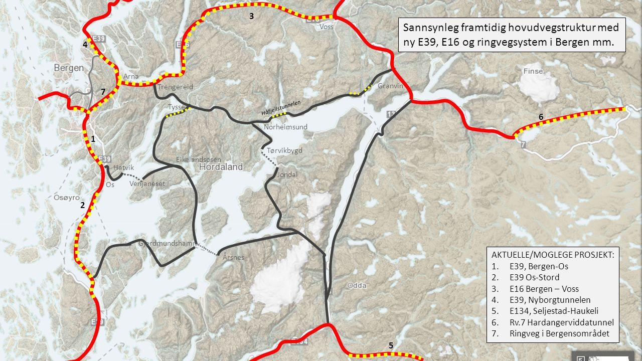 Jondal Hardangertunnel Eikelandsosen Tysse Espeland Arna Trengereid K5 Fjøsanger Potensiell framtidig reisetid Bergen – Voss, med ny E16 K5 (tilrådd i KVU) K4G Odda Norheimsund 1: 02 1: 04 K4G