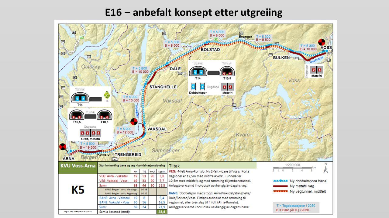 E16 – anbefalt konsept etter utgreiing