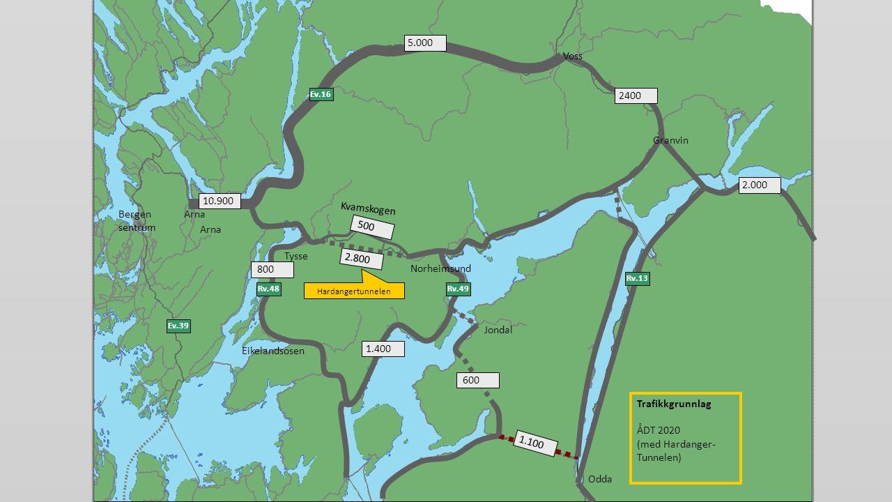 Odda Bergen sentrum Eikelandsosen Jondal Ev.39 Tysse Ev.16 Rv.49 Rv.13 Rv.48 Voss Granvin Kvamskogen Arna Norheimsund 5.000 1.400 800 1.100 600 2.000 2400 500 10.900 Hardangertunnelen 2.800 Trafikkgrunnlag ÅDT 2020 (med Hardanger- Tunnelen)