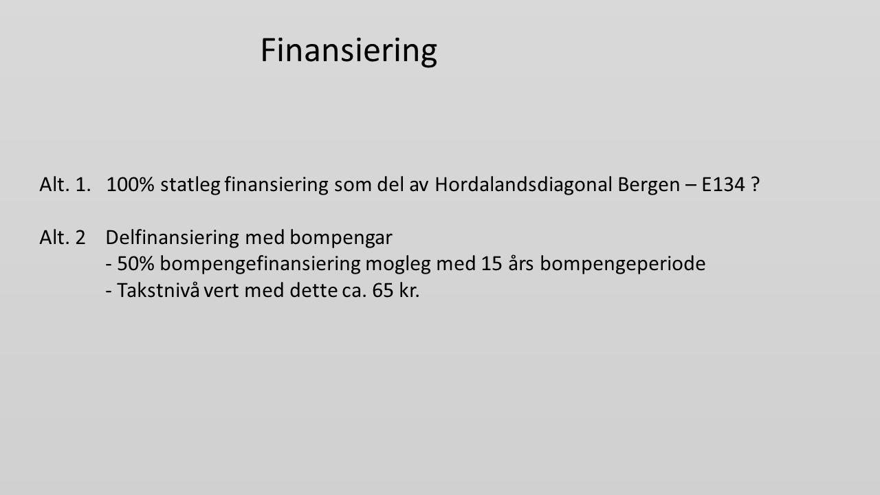 Finansiering Alt.1. 100% statleg finansiering som del av Hordalandsdiagonal Bergen – E134 .