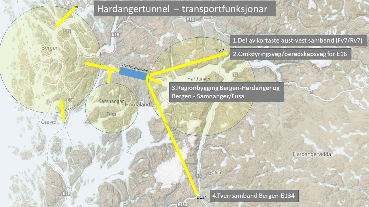 1. Kortaste aust-vest sambandet er via Hardangertunnelen