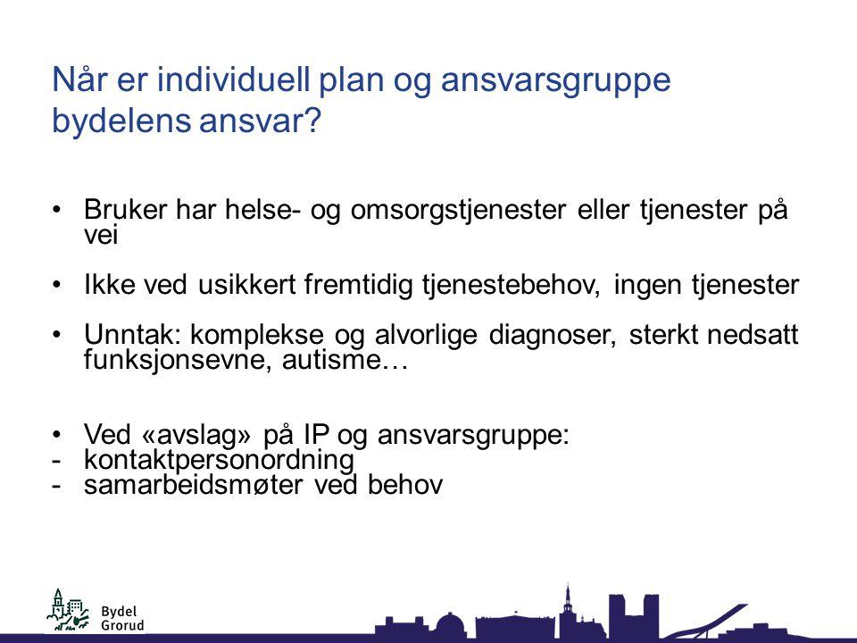 Når er individuell plan og ansvarsgruppe bydelens ansvar.