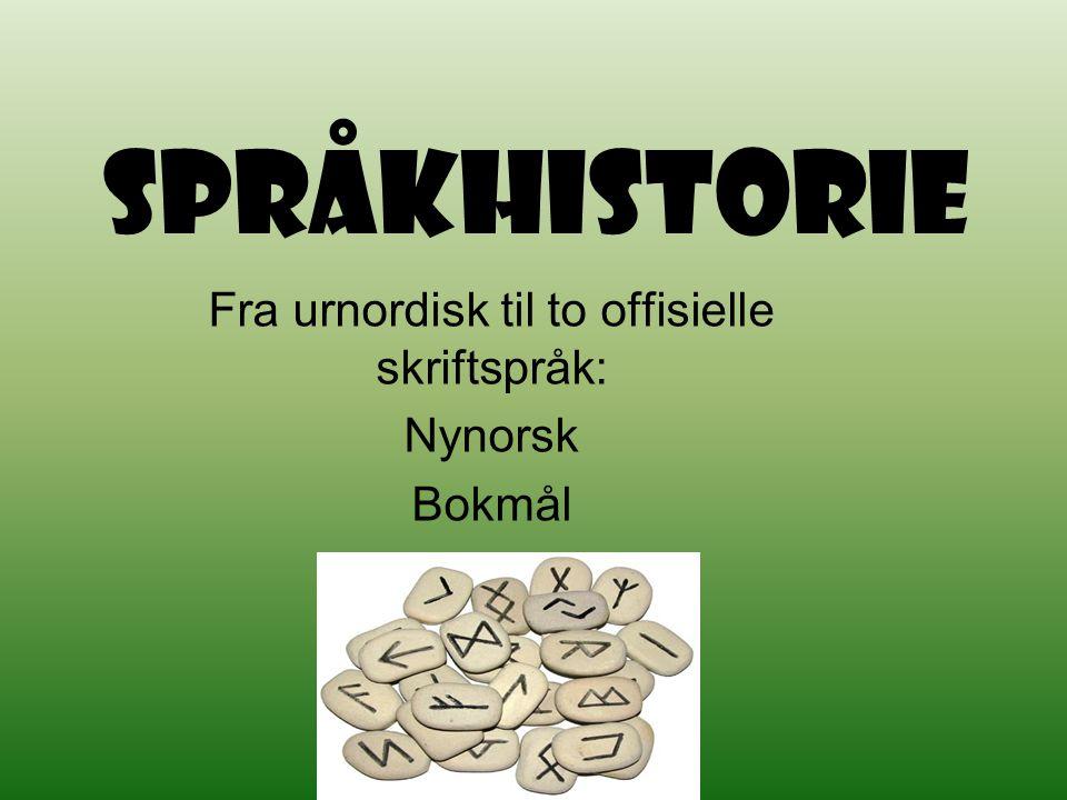 Språkhistorie Fra urnordisk til to offisielle skriftspråk: Nynorsk Bokmål