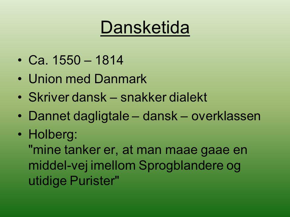 Dansketida Ca. 1550 – 1814 Union med Danmark Skriver dansk – snakker dialekt Dannet dagligtale – dansk – overklassen Holberg: