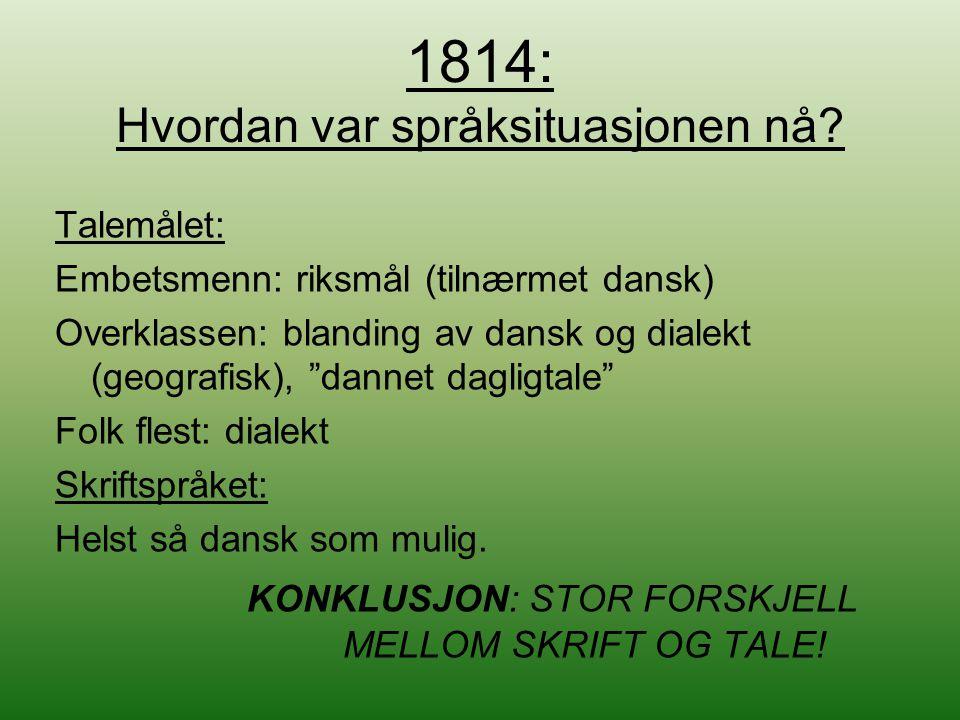"""1814: Hvordan var språksituasjonen nå? Talemålet: Embetsmenn: riksmål (tilnærmet dansk) Overklassen: blanding av dansk og dialekt (geografisk), """"danne"""