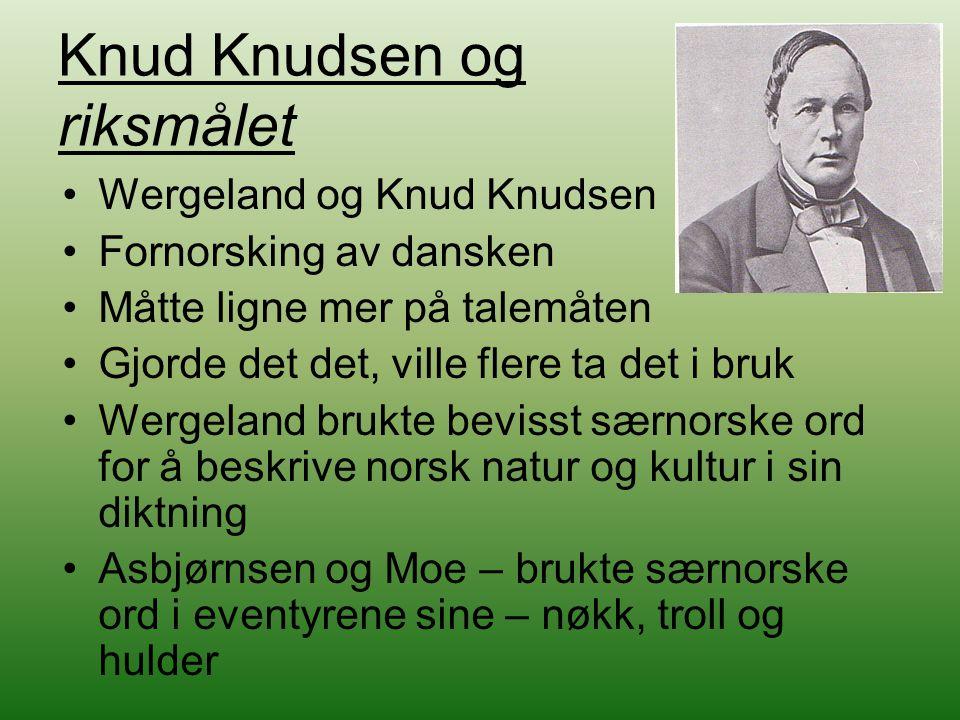Knud Knudsen og riksmålet Wergeland og Knud Knudsen Fornorsking av dansken Måtte ligne mer på talemåten Gjorde det det, ville flere ta det i bruk Werg