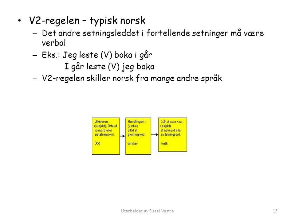 V2-regelen – typisk norsk – Det andre setningsleddet i fortellende setninger må være verbal – Eks.: Jeg leste (V) boka i går I går leste (V) jeg boka