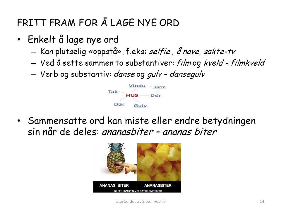 FRITT FRAM FOR Å LAGE NYE ORD Enkelt å lage nye ord – Kan plutselig «oppstå», f.eks: selfie, å nave, sakte-tv – Ved å sette sammen to substantiver: fi