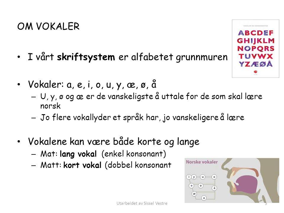 OM VOKALER I vårt skriftsystem er alfabetet grunnmuren Vokaler: a, e, i, o, u, y, æ, ø, å – U, y, ø og æ er de vanskeligste å uttale for de som skal l