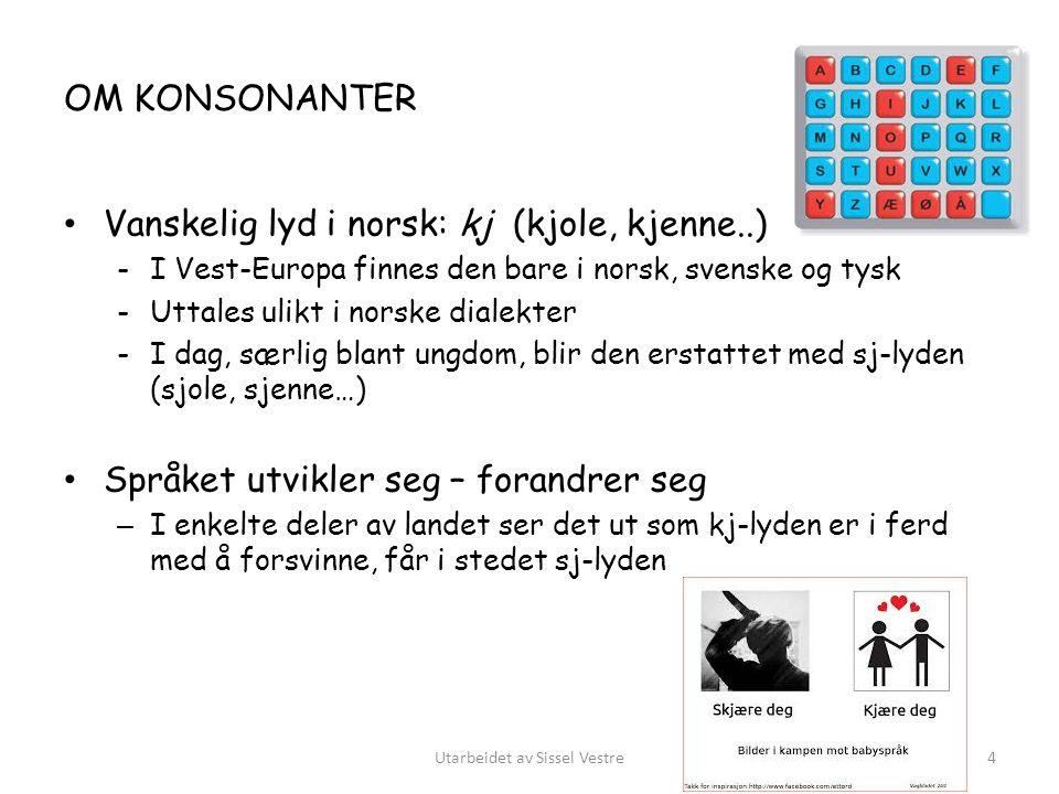 OM KONSONANTER Vanskelig lyd i norsk: kj (kjole, kjenne..) -I Vest-Europa finnes den bare i norsk, svenske og tysk -Uttales ulikt i norske dialekter -