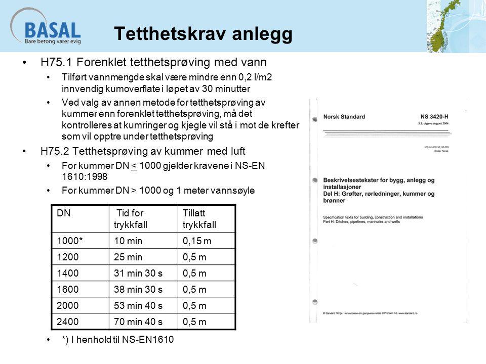 Tetthetskrav anlegg H75.1 Forenklet tetthetsprøving med vann Tilført vannmengde skal være mindre enn 0,2 l/m2 innvendig kumoverflate i løpet av 30 minutter Ved valg av annen metode for tetthetsprøving av kummer enn forenklet tetthetsprøving, må det kontrolleres at kumringer og kjegle vil stå i mot de krefter som vil opptre under tetthetsprøving H75.2 Tetthetsprøving av kummer med luft For kummer DN < 1000 gjelder kravene i NS-EN 1610:1998 For kummer DN > 1000 og 1 meter vannsøyle *) I henhold til NS-EN1610 DN Tid for trykkfall Tillatt trykkfall 1000*10 min0,15 m 120025 min0,5 m 140031 min 30 s0,5 m 160038 min 30 s0,5 m 200053 min 40 s0,5 m 240070 min 40 s0,5 m