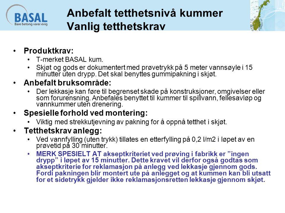 Anbefalt tetthetsnivå kummer Vanlig tetthetskrav Produktkrav: T-merket BASAL kum.