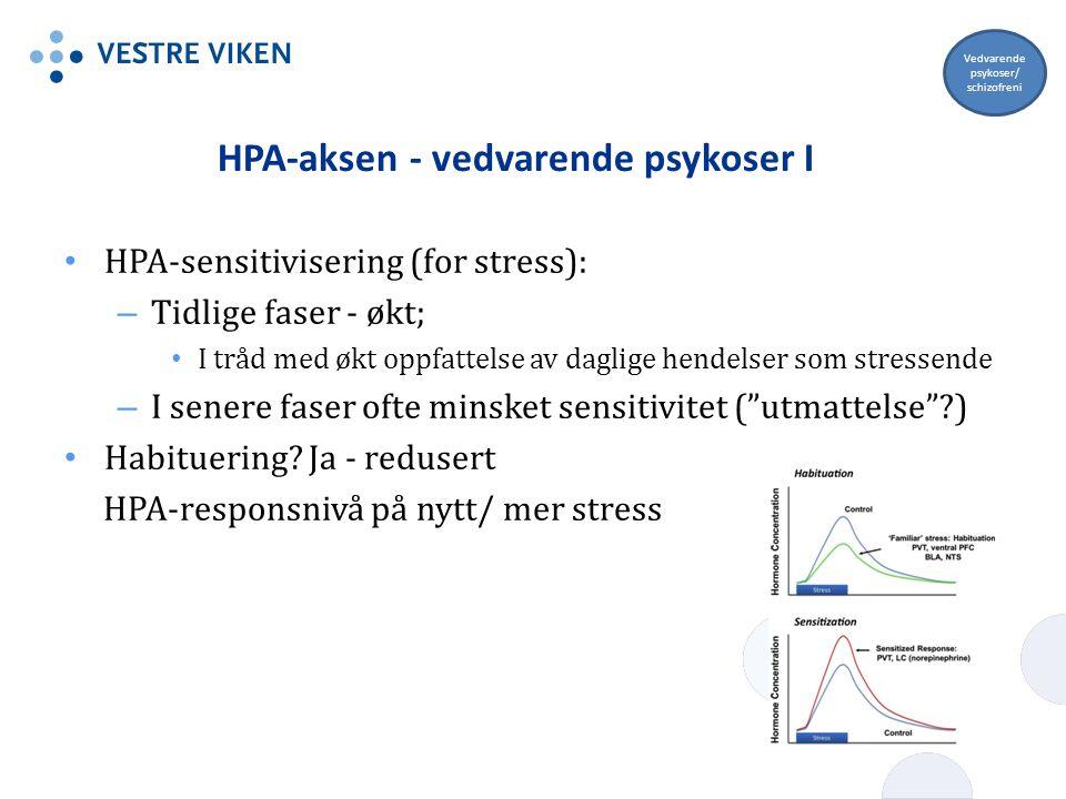 HPA-aksen - vedvarende psykoser I HPA-sensitivisering (for stress): – Tidlige faser - økt; I tråd med økt oppfattelse av daglige hendelser som stresse