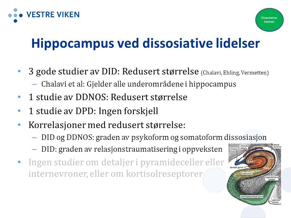 Hippocampus ved dissosiative lidelser 3 gode studier av DID: Redusert størrelse (Chalavi, Ehling, Vermetten) – Chalavi et al: Gjelder alle underområde