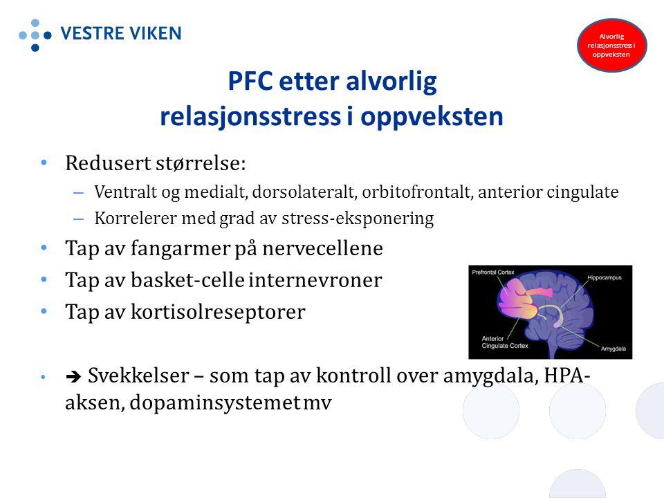 PFC etter alvorlig relasjonsstress i oppveksten Redusert størrelse: – Ventralt og medialt, dorsolateralt, orbitofrontalt, anterior cingulate – Korrele
