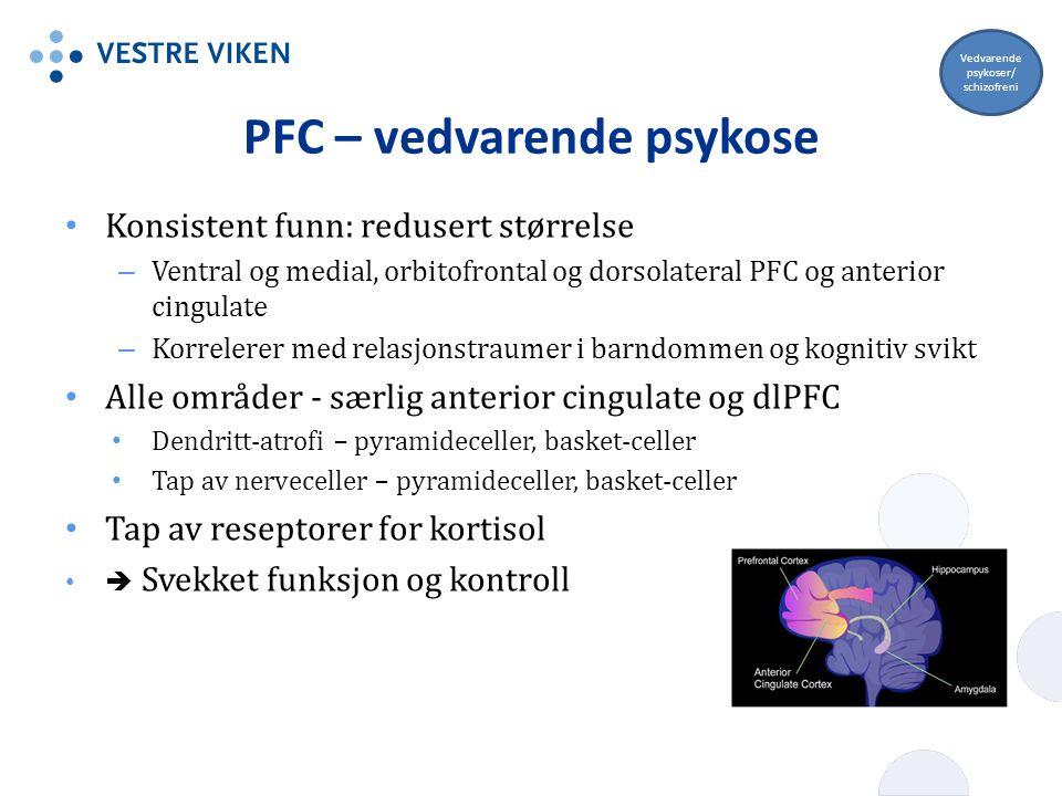 PFC – vedvarende psykose Konsistent funn: redusert størrelse – Ventral og medial, orbitofrontal og dorsolateral PFC og anterior cingulate – Korrelerer