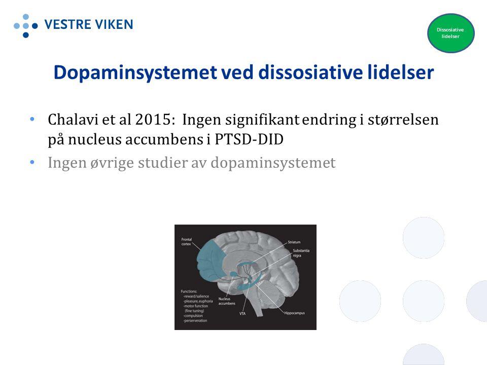 Dopaminsystemet ved dissosiative lidelser Chalavi et al 2015: Ingen signifikant endring i størrelsen på nucleus accumbens i PTSD-DID Ingen øvrige stud