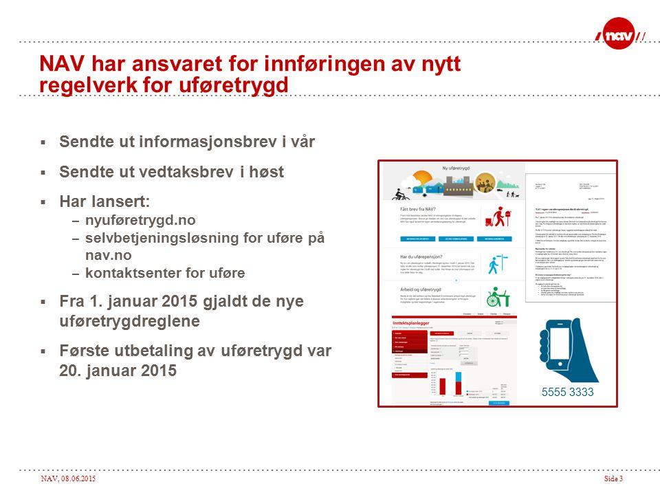 NAV, 08.06.2015Side 3 NAV har ansvaret for innføringen av nytt regelverk for uføretrygd  Sendte ut informasjonsbrev i vår  Sendte ut vedtaksbrev i h