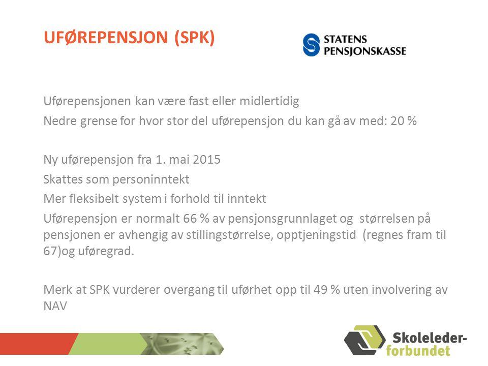 UFØREPENSJON (SPK) Uførepensjonen kan være fast eller midlertidig Nedre grense for hvor stor del uførepensjon du kan gå av med: 20 % Ny uførepensjon fra 1.