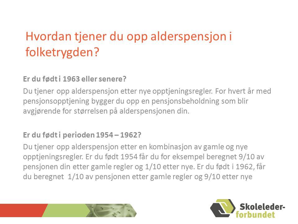 ALDERPENSJON FRA SPK Brutto alderspensjon Pensjonsgrunnlag (sluttlønn + pensj.givende tillegg – tar hensyn til tidligere perioder med høyere lønn) Opptjeningstid (gjennomsnittlig stillingstørrelse, tid medregnet i henhold til permisjonsavtalen, tid medregnet i andre ordninger i henhold til overføringsavtalen, full tid 30 år, oppsatt 40 år) Pensjonsgrad (kan ta ut delvis alderspensjon, ingen minste pensjonsgrad, graderes i forhold til reststillingen og den gjennomsnittlige stillingstørrelsen 66 % (garantert bruttonivå før levealdersjustering, bruttonivået levealdersjusteres ved at man deler på et forholdstall)