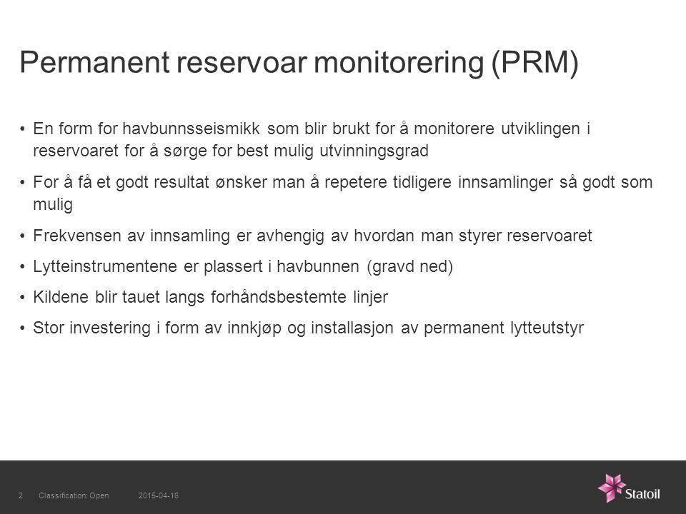 Permanent reservoar monitorering (PRM) En form for havbunnsseismikk som blir brukt for å monitorere utviklingen i reservoaret for å sørge for best mul