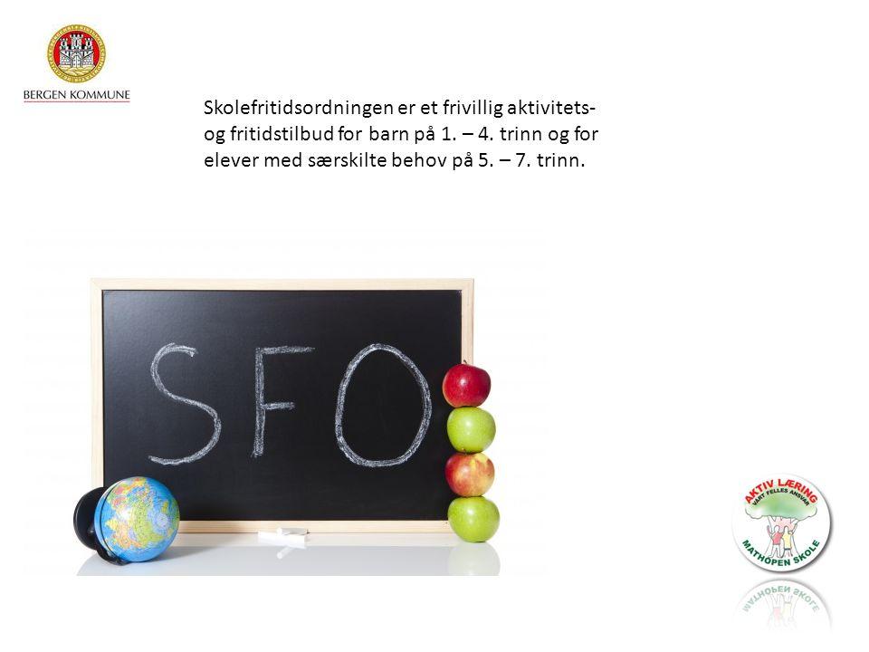 Skolefritidsordningen er et frivillig aktivitets- og fritidstilbud for barn på 1. – 4. trinn og for elever med særskilte behov på 5. – 7. trinn.
