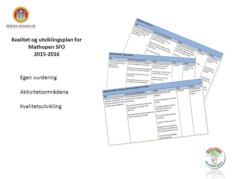 Kvalitet og utviklingsplan for Mathopen SFO 2015-2016 Egen vurdering Aktivitetsområdene Kvalitetsutvikling
