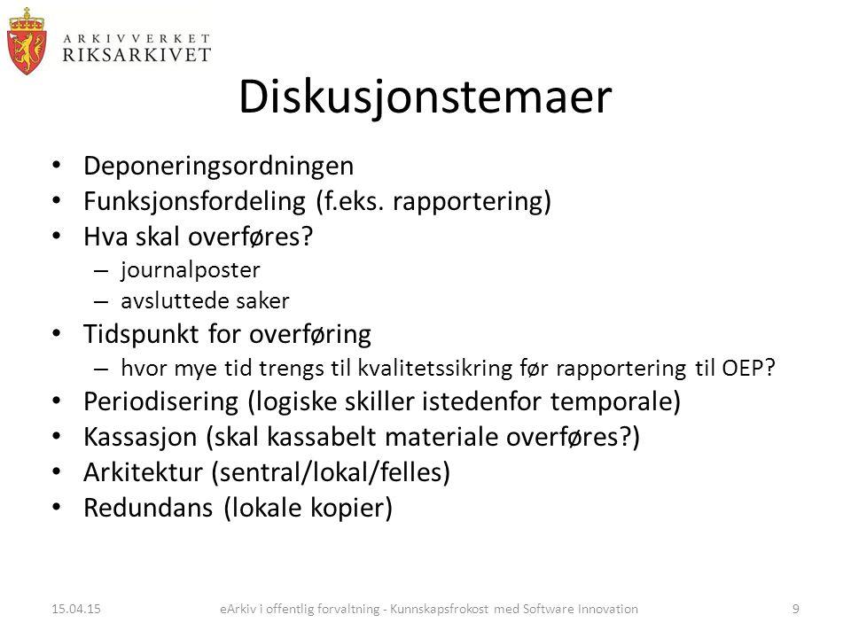 Diskusjonstemaer Deponeringsordningen Funksjonsfordeling (f.eks.