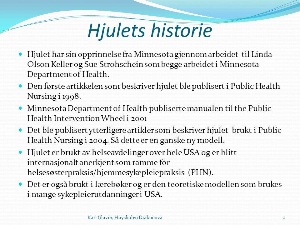 PHIW = Rammeverk for å definere omfanget av praksis for sykepleie i kommunehelsetjenesten (helsesøster og hjemmesykepleie) 3Kari Glavin, Høyskolen Diakonova
