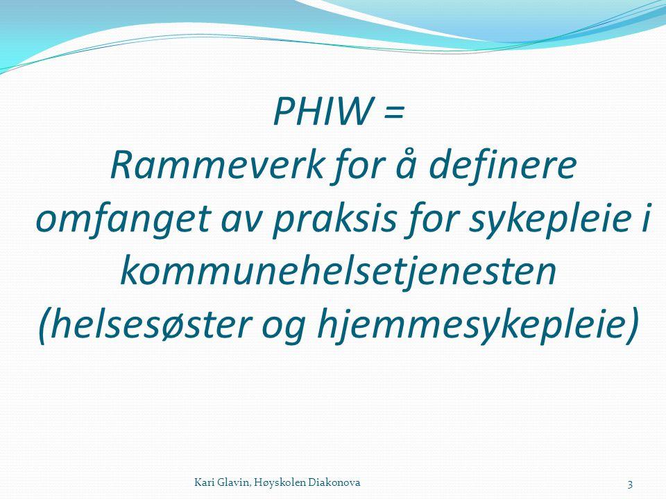 PHIW = Rammeverk for å definere omfanget av praksis for sykepleie i kommunehelsetjenesten (helsesøster og hjemmesykepleie) 3Kari Glavin, Høyskolen Dia