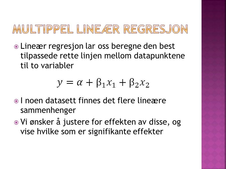  Lineær regresjon lar oss beregne den best tilpassede rette linjen mellom datapunktene til to variabler  I noen datasett finnes det flere lineære sa