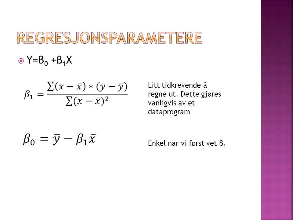  Y=β 0 +β 1 X Litt tidkrevende å regne ut. Dette gjøres vanligvis av et dataprogram Enkel når vi først vet β 1