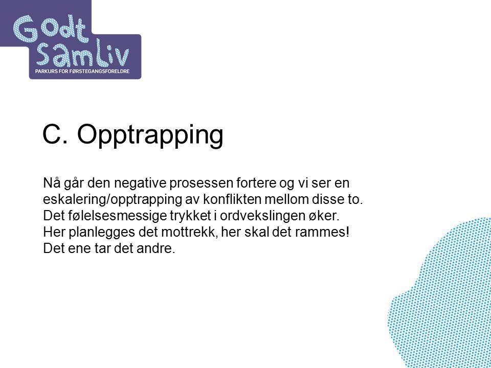 C. Opptrapping Nå går den negative prosessen fortere og vi ser en eskalering/opptrapping av konflikten mellom disse to. Det følelsesmessige trykket i