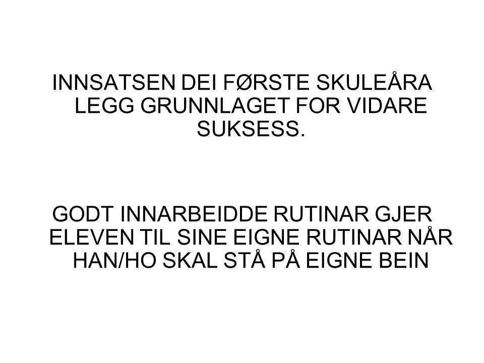 INNSATSEN DEI FØRSTE SKULEÅRA LEGG GRUNNLAGET FOR VIDARE SUKSESS.