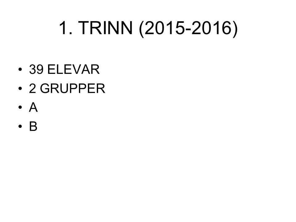 1. TRINN (2015-2016) 39 ELEVAR 2 GRUPPER A B