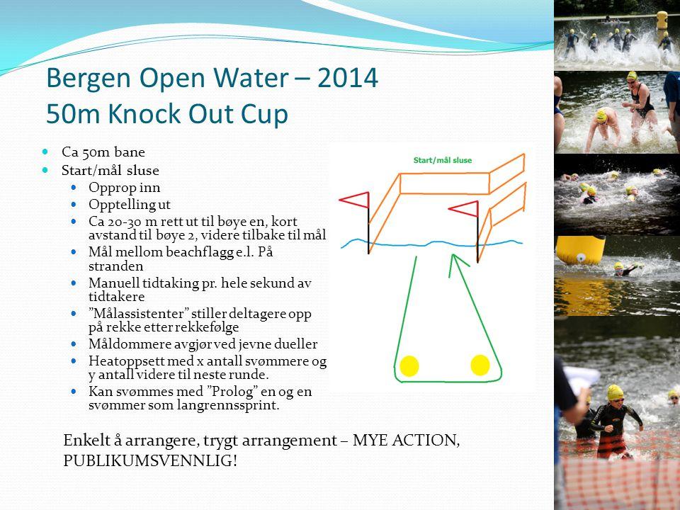 Bergen Open Water – 2014 50m Knock Out Cup Ca 50m bane Start/mål sluse Opprop inn Opptelling ut Ca 20-30 m rett ut til bøye en, kort avstand til bøye 2, videre tilbake til mål Mål mellom beachflagg e.l.