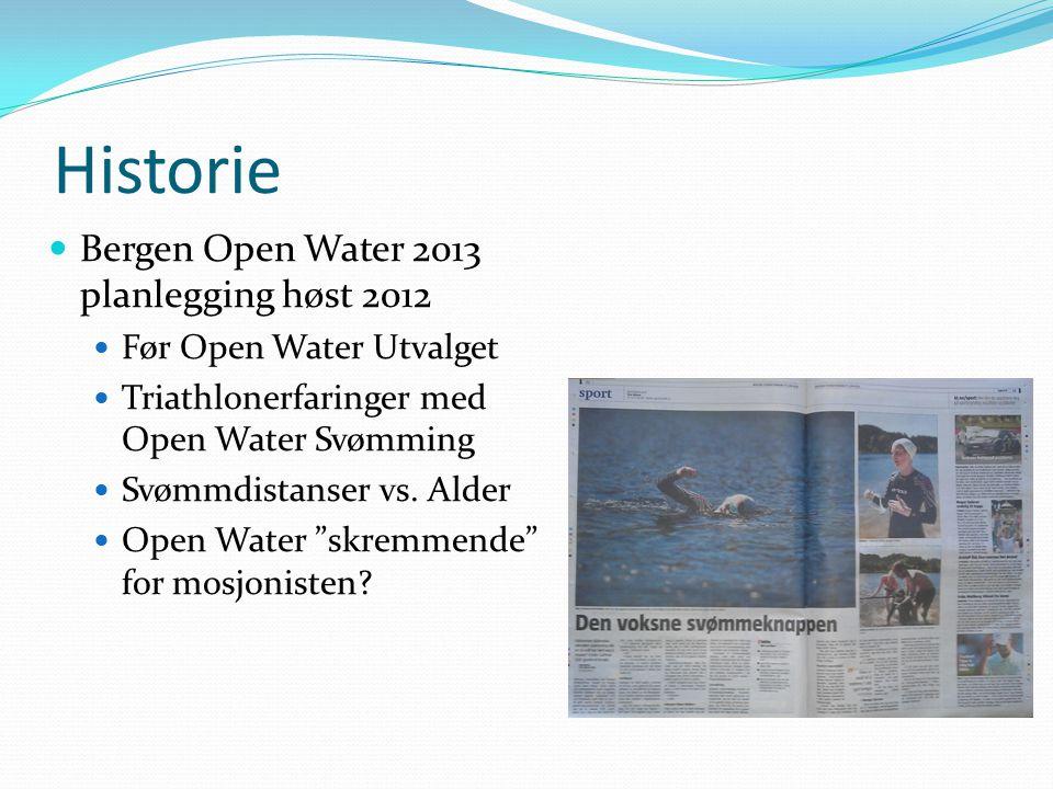 Historie Bergen Open Water 2013 planlegging høst 2012 Før Open Water Utvalget Triathlonerfaringer med Open Water Svømming Svømmdistanser vs. Alder Ope
