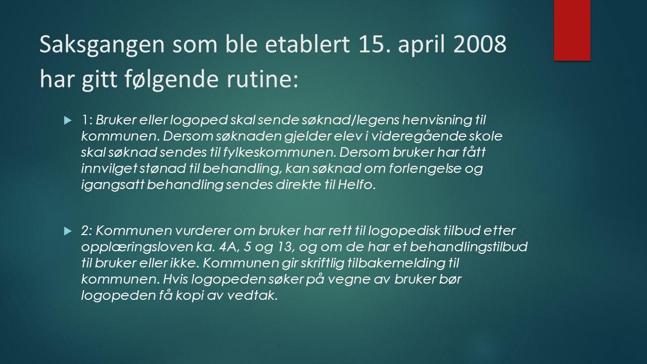 Saksgangen som ble etablert 15. april 2008 har gitt følgende rutine:  1: Bruker eller logoped skal sende søknad/legens henvisning til kommunen. Derso