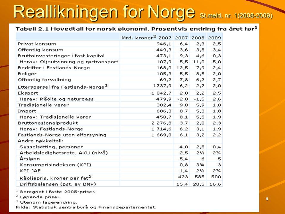 6 Reallikningen for Norge St.meld. nr. 1(2008-2009)