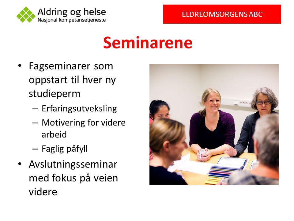 Seminarene Fagseminarer som oppstart til hver ny studieperm – Erfaringsutveksling – Motivering for videre arbeid – Faglig påfyll Avslutningsseminar me