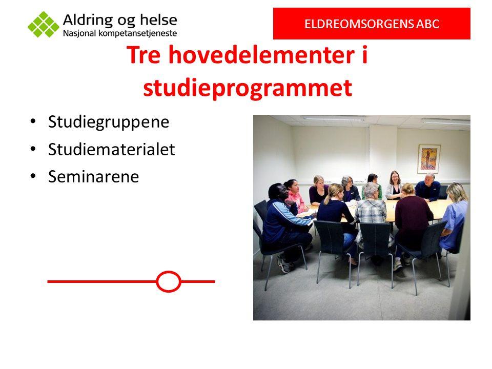 Tre hovedelementer i studieprogrammet Studiegruppene Studiematerialet Seminarene ELDREOMSORGENS ABC