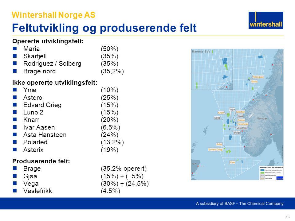Wintershall Norge AS Feltutvikling og produserende felt 13 Opererte utviklingsfelt: Maria(50%) Skarfjell(35%) Rodriguez / Solberg(35%) Brage nord(35,2