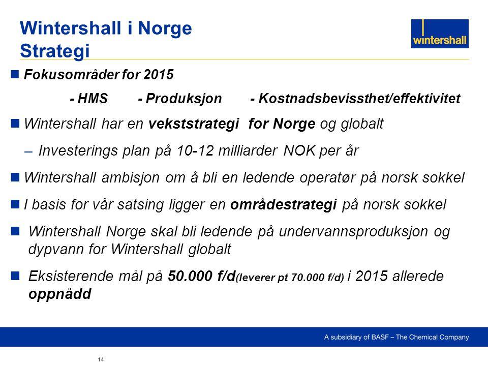 Wintershall i Norge Strategi Fokusområder for 2015 - HMS - Produksjon - Kostnadsbevissthet/effektivitet Wintershall har en vekststrategi for Norge og