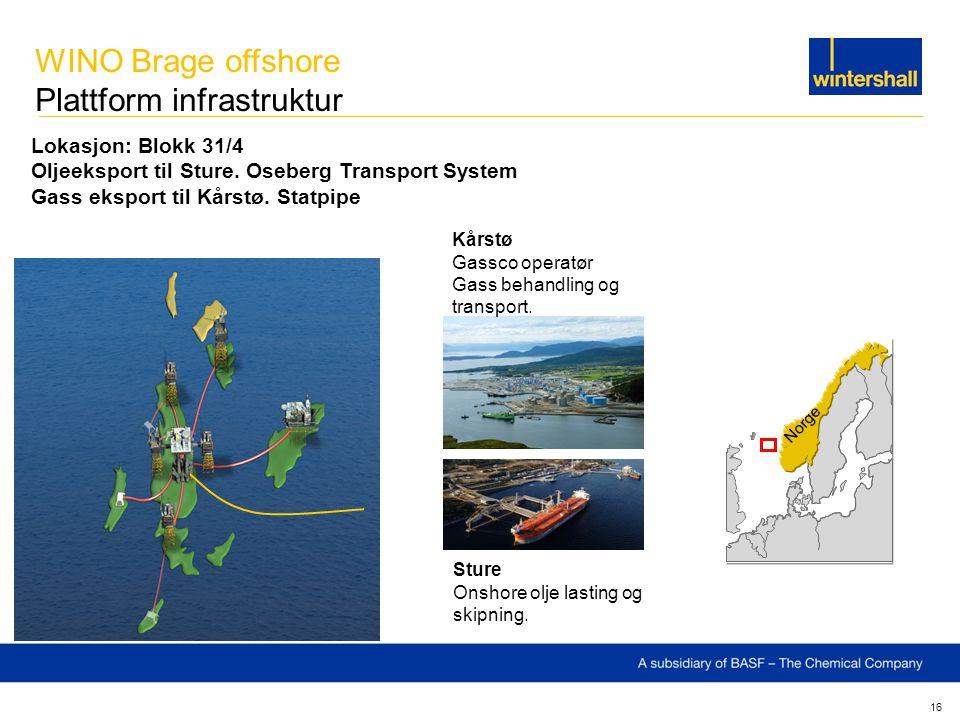 16 Lokasjon: Blokk 31/4 Oljeeksport til Sture. Oseberg Transport System Gass eksport til Kårstø. Statpipe Sture Onshore olje lasting og skipning. Kårs