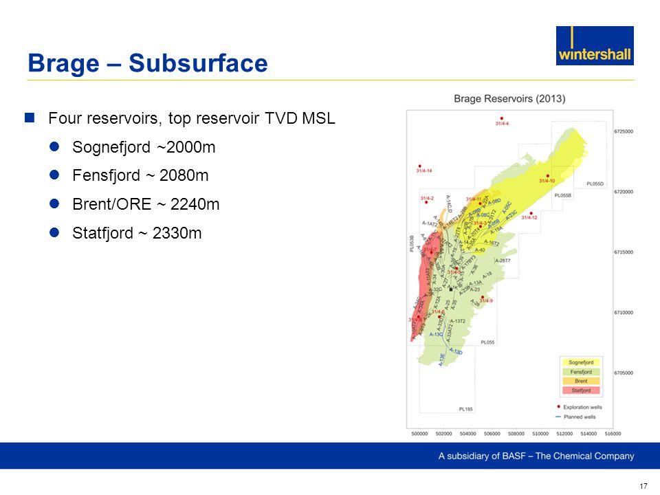 Brage – Subsurface 17 Four reservoirs, top reservoir TVD MSL Sognefjord ~2000m Fensfjord ~ 2080m Brent/ORE ~ 2240m Statfjord ~ 2330m