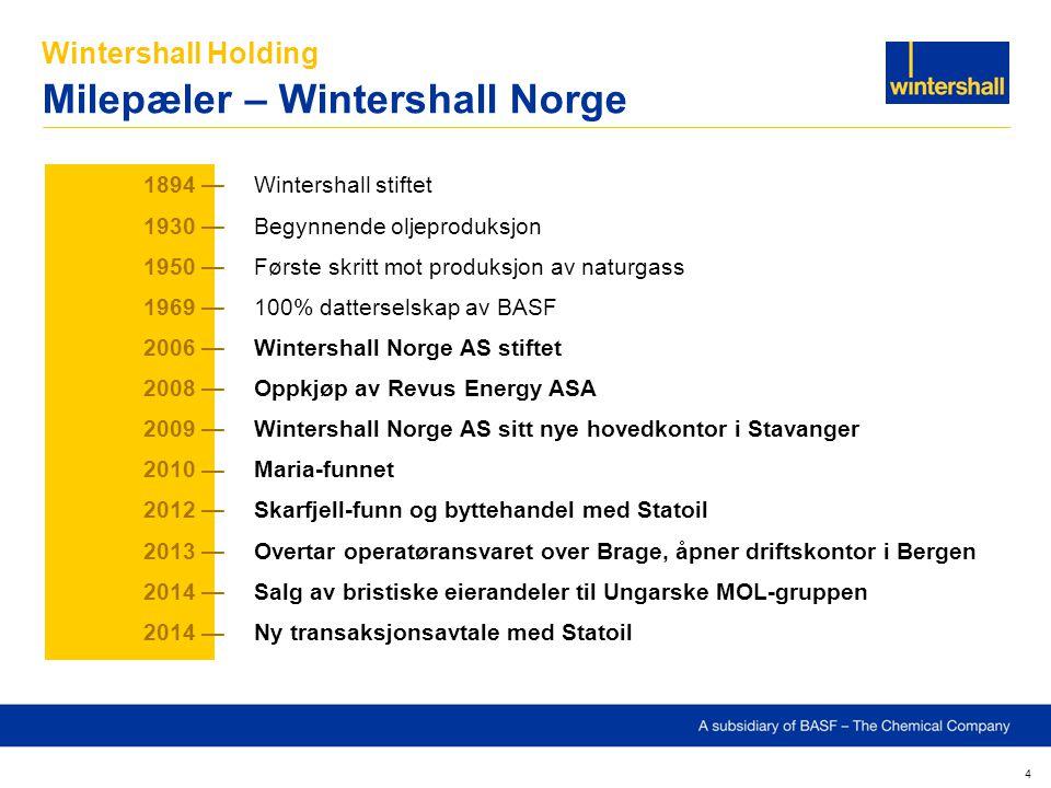 Wintershall Holding Milepæler – Wintershall Norge 4 1894 —Wintershall stiftet 1930 — Begynnende oljeproduksjon 1950 — Første skritt mot produksjon av