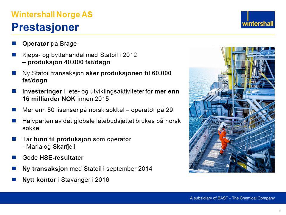 Wintershall Norge AS Prestasjoner 8 Operatør på Brage Kjøps- og byttehandel med Statoil i 2012 – produksjon 40.000 fat/døgn Ny Statoil transaksjon øke
