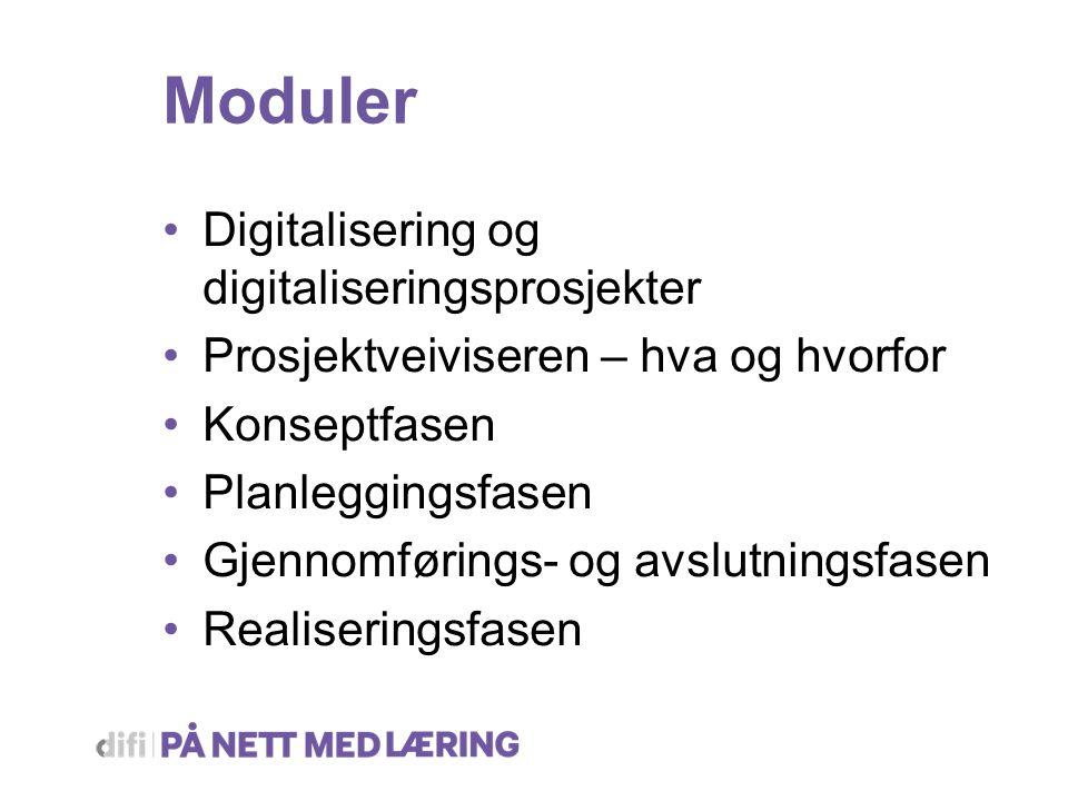 Moduler Digitalisering og digitaliseringsprosjekter Prosjektveiviseren – hva og hvorfor Konseptfasen Planleggingsfasen Gjennomførings- og avslutningsfasen Realiseringsfasen